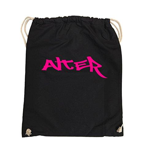 Comedy Bags - ALTER - GRAFFITI - Turnbeutel - 37x46cm - Farbe: Schwarz / Silber Schwarz / Pink