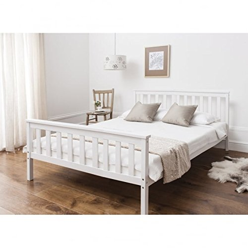 Noa and Nani - Dorset 4'6 Double Bed with Wooden Frame - (White)