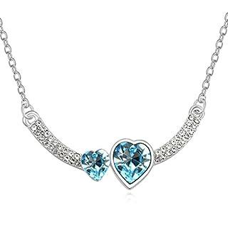 Daesar Schmuck Damenkette Vergoldet 2 Herz Synthetische Kristall Halskette Zirkonia Halskette Anhänger