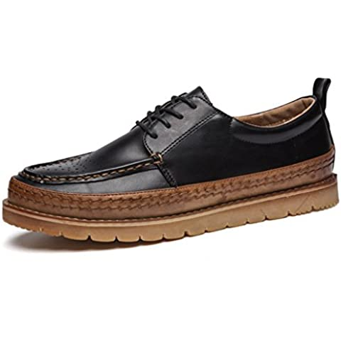 SITAILE Uomo Lace Up Classic il comfort di moda piatta Nero Marrone traspirante Scarpe stringate basse Oxford stringata