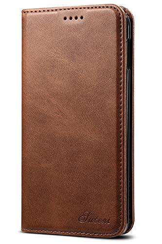 Leder Case Handyhülle Compatible with Samsung Galaxy 10E Flip Case Handytasche mit Kredit Karten Hülle Geldklammer Unsichtbar Magnet und Stand Funktion Schutzhülle,Braun