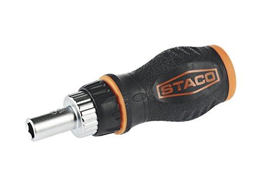Staco 20602 Ergonomischer Bit-Schraubendreher, Ratschen-Funktion, SoftGrip