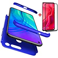 AILZH Compatibles para Funda Huawei Honor V20+[Cristal Templado] 360 Grados Vidrio Templado Caja protección de cáscara Dura Anti-Shock Anti-rasguño Caso Mate(Azul)