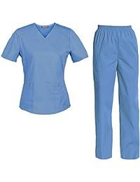 9b65610e8a858a TAILOR'S Divisa Ospedaliera sanforizzato Pantaloni + Casacca Scollo a V  Sanitaria Medicale per Medico Infermiere OSS