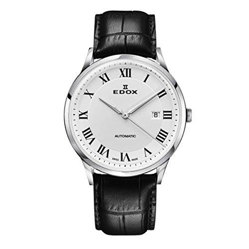 EDOX Reloj Analogico para Hombre de Automático con Correa en Cuero 80106-3C-AR