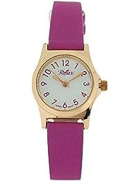 Montre Reflex pour Femme/Fille Cadran Blanc, Métal Ton Or Rose & Bracelet Violet