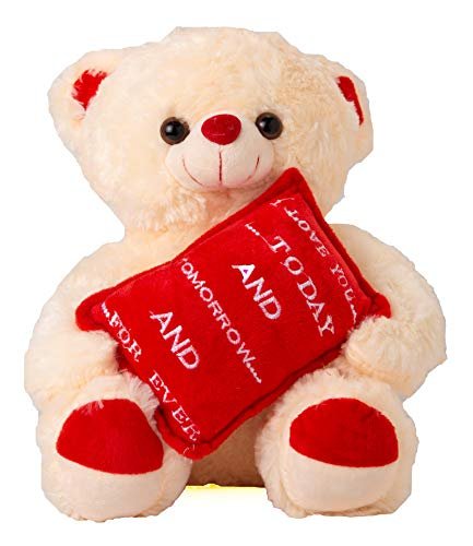 Avighna Romantic Love Teddy Bear with Pillow as Gift for Girlfriend Love Wife Birthday Special| Valentine Gifts for Girlfriend(Cream & Red) (Teddy Bear with Pillow)