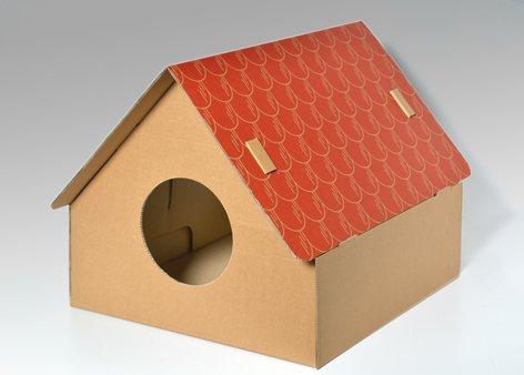 """katzeninfo24.de Katzenhaus """"Easy One"""" aus Wellpappe – Katzenkorb, Katzenhöhle, Katzenkarton"""