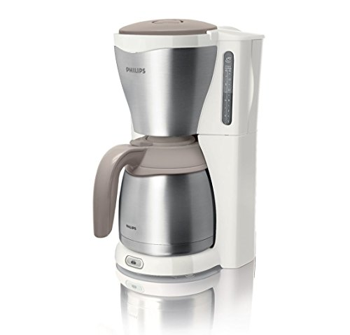 Philips HD7546/00 Gaia Filter-Kaffeemaschine mit Thermo-Kanne, weiß/beige/metall
