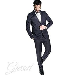 914fc7709da1 Giosal Abito Elegante Uomo Vestito Smoking Papillon Tinta Unita Blu Bottoni  Tasche Casual