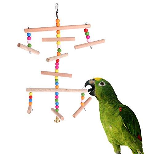 Cuigu Papageien, mehrschichtige Schaukel mit Glocke, Spielzeug aus Holz, zum Aufhängen, Vogelkäfig