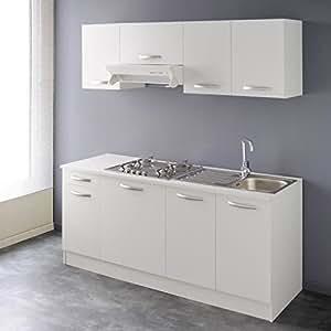 AUTOMNE Bloc cuisine complete 180 cm décor blanc
