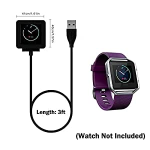 Fitbit Blaze Charger, AKReplacement USB Charging Cable for Fitbit Blaze Smart Fitness Watch,Black