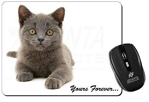 Silver Blue Cat ' Yours Forever' Computer-Maus -Matte / pad Weihnachtsgeschenk