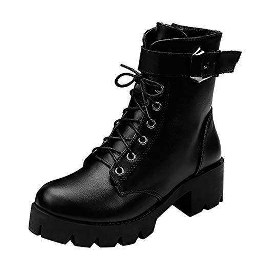 Botas Militares para Mujer con Plataforma - Ocio Botines Tacon Mujer Piel Botas Cortas de Tacones Cuadrados...