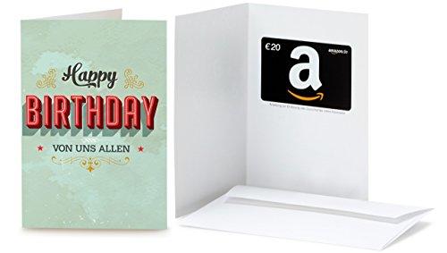 Amazon.de Geschenkkarte in Grußkarte - 20 EUR (Geburtstag Vintage)
