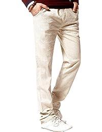HOEREV Marque Hommes Pantalon Pantalons simple de lin Drawstring
