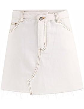 Blanco QPSSP Denim falda corta parpadear una falda falda Mujer Torso