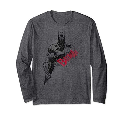 Batman Sketch Bat Red Logo   Langarmshirt -