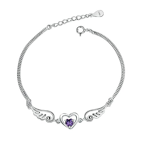 Isajewelry 925 Sterling Silver Angel Wings Heart Purple Crystal Bracelets For Women/Girls