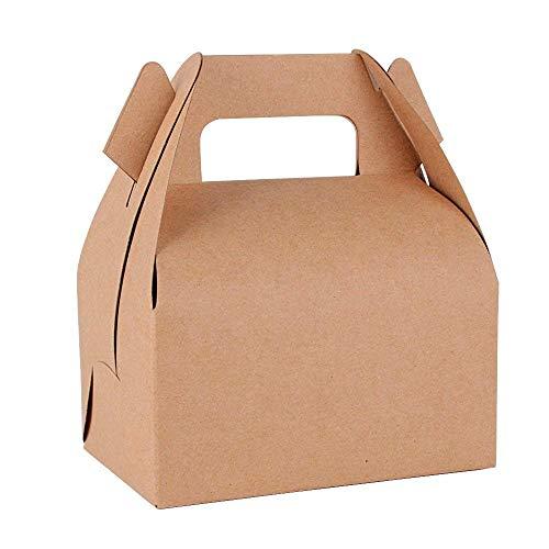 Serwoo 25pz scatole scatoline marrone biscotti dolci carta kraft bomboniere portaconfetti come segnaposto per matrimonio nascita battesimo festa compleanno (11.5*8*9cm)