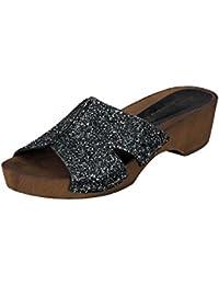 Linea Scarpa KORSIKA Zapatillas baño Sandalias Zapatos informales Mujer con Tacón - Negro, 38 EU