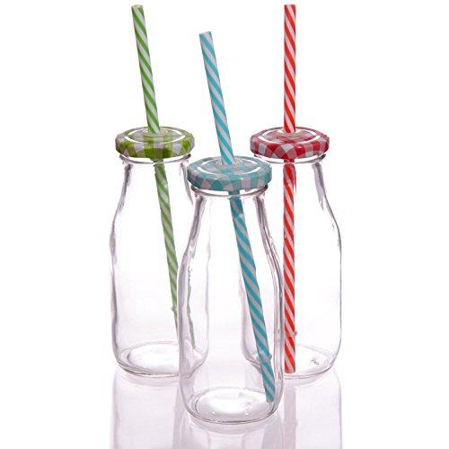 250ml SET OF 3 RETRO VINTAGE MINI SCHOOL MILK GLASS BOTTLE TEA PARTY KIDS by Rustic Fayre Drink Co. Vintage Milk Glass