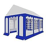Stagecaptain Bavaria 4x6m Partyzelt (bis zu 40 Personen/ca. 5 Biergartenganituren, Robustes, windstabiles Gestänge, fixierbarer Eingang mit Reißverschlüssen, Kantentschutz) weiß-blau
