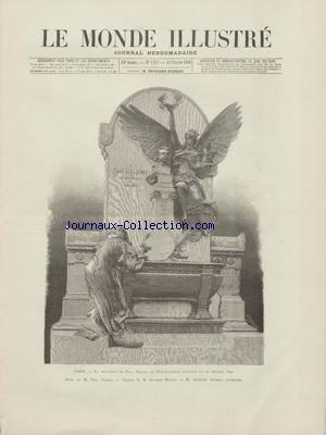 MONDE ILLUSTRE (LE) [No 1717] du 22/02/1890 - LE MONUMENT DE PAUL BAUDRY AU PERE-LACHAISE - BUSTE DE DUBOIS - FIGURES DE MERCIE - ARCHITECTE - AMBOISE BAUDRY - THEATRE - SALMMBO DE ERNEST REYER AU THEATRE DE LA MONNAIE A BRUXELLES PAR ROMBERG