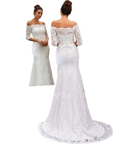 CoCogirls Jahrgang Spitze Meerjungfrau Strand Hochzeitskleid Halbe Ärmel Hofzug Trompete Lange Braut kleider Brautkleid Elfenbein