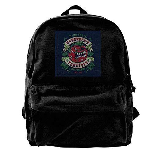 YANNAN Canvas Backpack Attack of The Killer Tomatoes Doctor Gangreens GM Tomatoes Rucksack Gym Hiking Laptop Shoulder Bag Daypack for Men Women -