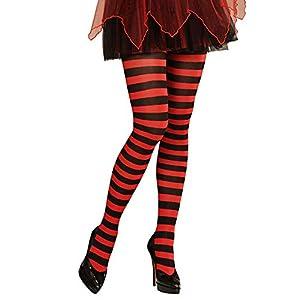 WIDMANN Striped Pantyhose medias rayas, rojo/negro, 70Deniers