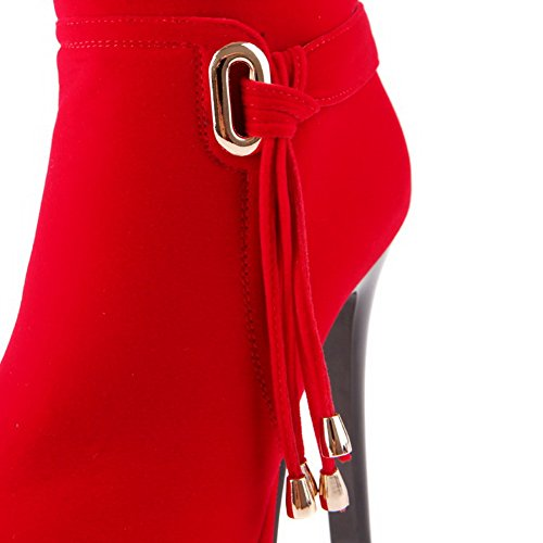 Metallisch Rot Zehe mit Niedrig Rund Spitze Stiefel Rein VogueZone009 Hoher Damen Absatz 1q4wvv