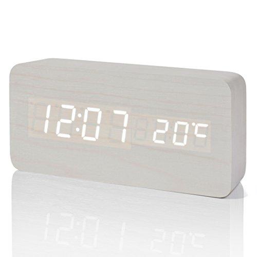 FIBISONIC LED Digital Wecker Holz Wecker Tischuhr Datum Temperaturanzeige Einstellbare Helligkeit Standuhr