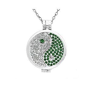 AKKi jewelry Damen Halskette Coins-Anhänger-Set Coin 33 mm münze für Medallion Edelstahl Swarovski Kristalle Silber Rose Schmuck 70 cm Lange Hals Kette