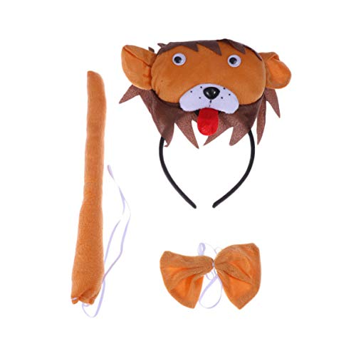 Amosfun 3 stücke in 1 Satz Tier Ohren Stirnband Fliege Schwanz kostüm zubehör Set Tier Fliege für Halloween Cosplay Party (Lion) (Lion Ohren Und Schwanz Set Tier Kostüm)