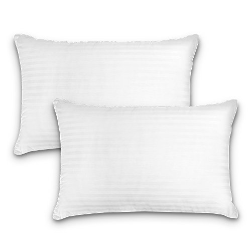 DreamNorth Premium Gelkissen Loft Plüsch Gel Bett Kissen für Zuhause + Hotel Kollektion [gut für Seitenschläfer] Baumwolle Bezug staubmilbenabweisend & hypoallergen - Standardgröße -
