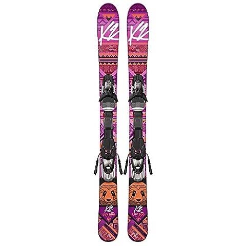 K2 Luv Bug Fastrak 4.5 Skis avec fixation Fille Rose 100