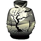 UFACE Paar Herbst/Winter Halloween 3D-Druck mit Kapuze Langarm-Pullover Casual Herbst Winter 3D Druck Halloween Hoodies Sweatshirt Bluse(B,L)