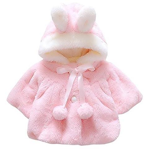 Happy Cherry Enfant Bébé Fille Manteau à Chapeau Capuchon 3D Oreilles de Lapin Doux Chaud en Coton Veste d