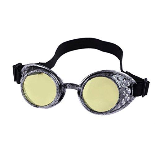 HLHN Herren Damen Vintage Retro Vintage Style Steampunk Goggles Schweißen Punk Gläser Cosplay Sonnenbrille (Gelb)