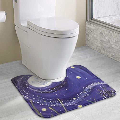 Hoklcvd Personalisierte Toilette Teppich-The Starry Sky WC U-förmige MatCartoon weiche Matte Dusche Boden Teppich Badezimmer