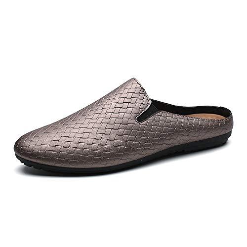 Casual Suede Shoe Beiläufiger Slipper für Männer Slip auf Sommer Mokassins Mokassins Weave Knit Mikrofaser Leder elastische Band Flache Schuhe Herren Sneaker (Color : Gold, Größe : 40 EU) -