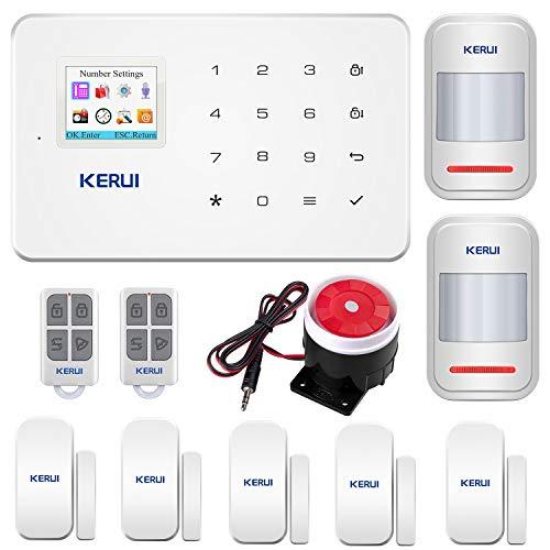 KERUI G18 Sistema de Alarma GSM Inalámbrico Control Remoto por CALL/SMS/APP - Kit Alarma Antirrobo Casa DIY con Sensor Puerta/Detector Movimiento PIR/Mando a distancia para Hogar/Tienda/Garaje/Oficina