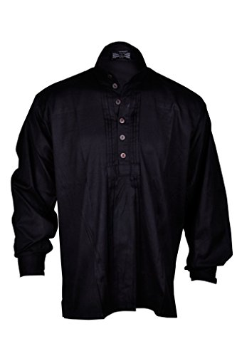 Pirate Renaissance Shirt Schwarz Farbe Mittelalterlich Karibik Hippie Männer Kostüm XXL Größe