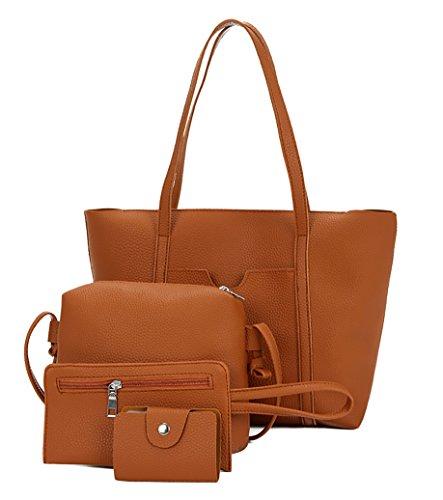 Ghlee Frauen Weiche PU Leder Damen Umhängetaschen Top-Griff Handtasche Tote Handtasche Tasche + Shlolder Tasche + Clutch Bag + Brieftasche 4 Sätze Braun (Armband-clutch-brieftasche)