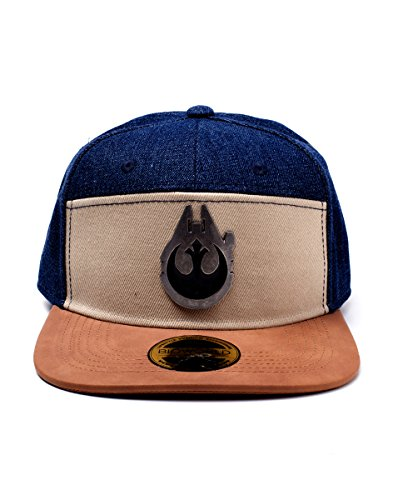 Bioworld Star Wars Han Solo Millennium Falcon Metal Badge Denim Snapback Baseball Cap Casquette, Multicolour (Multicolour Multicolour), Taille Unique