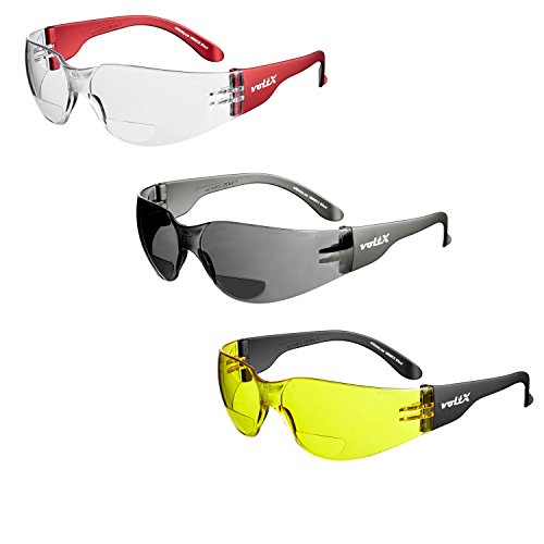 3 x voltX \'Grafter\' BIFOKALE (GEMISCHT: 1x Klar 1x Gelb 1x Rauchgrau +2.0 Dioptrie) Leichtgewichts Industrie Lesen Schutzbrille, CE EN166F Zertifiziert/Sportbrille für Radler -Safety Bifocal Glasses