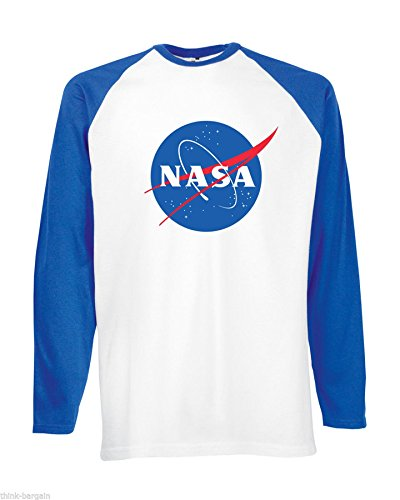 NASA Space Nebula Explorer Nerds Frikadelle Logo Männer T Shirt weiß (White) / Royablau Design