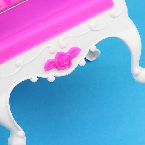Miniatura Casa Delle Bambole Mobili Sedia Poltrona Divano - Bianco E Rosa Shocking